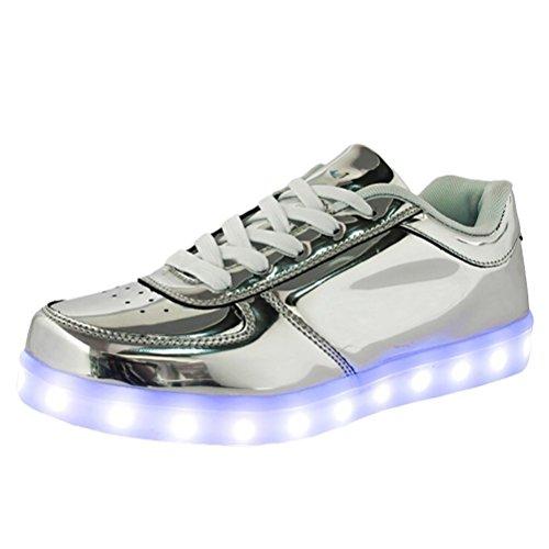 (Present:kleines Handtuch)JUNGLEST® Damen/Herren LED Leuchtend Spo Silber