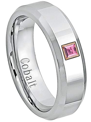 0.05ctw Solitaire Princess Cut Pink Tourmaline Cobalt Ring - 6MM Polished Finish Beveled Edge Cobalt Chrome Wedding Band - October Birthstone Ring - s6 ()