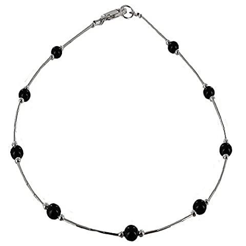 Womens Black Onyx & Sterling Silver Tube Ladies Beaded Gemstone Anklet with Daisies - 9