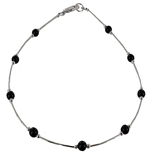 Womens-Black-Onyx-Sterling-Silver-Tube-Ladies-Beaded-Gemstone-Anklet-with-Daisies