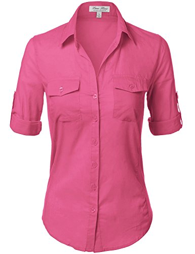 Side Ribbed Panel Stylish Button Down Solid Color (Womens Beaded Ruffle Shirt)