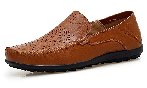 Go Tour Men's Premium Genuine Leather Casual Slip On Loafers Breathable Driving Shoes Fashion Slipper Brown Punched 47