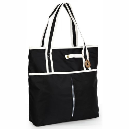 Black with White Accents Fashionable Casual Top Double Handle Shopper Shopping Beach Pool Travel Tote Handbag Satchel Daybag Bag, Bags Central