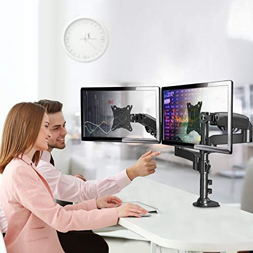 """ErGear 17""""-32"""" Dual Monitor Desk Mount Stand Kit, Full Motion Gas Spring Arms with Clamp On/Grommet Mounting Base, Holds Two Computer Screens as much as 19.84 lbs/Arm with 75/100mm VESA, Black"""