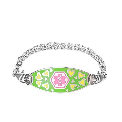 Divoti Custom Engraved Loving Heart Medical Alert Bracelet -Handmade Byzantine-Pink-6.5