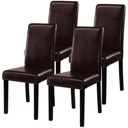 Contemporary Elegant Dark Brown Leather Fabric Design Home Room Dining Chairs, Set of 4