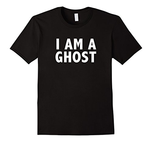 Mens Funny Ghost Costume Plain T-Shirt Small Black -