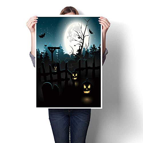 SCOCICI1588 Canvas Wall Art,Scary Graveyard at Night Halloween Background Living Room Office Decoration,28