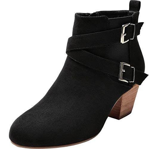 Luoika Women's Wide Width Ankle Boots - Buckle Strap Mid Low Wooden Block Heel Side Zipper Booties. (180716,Black,10WW) - Low Heel Bootie