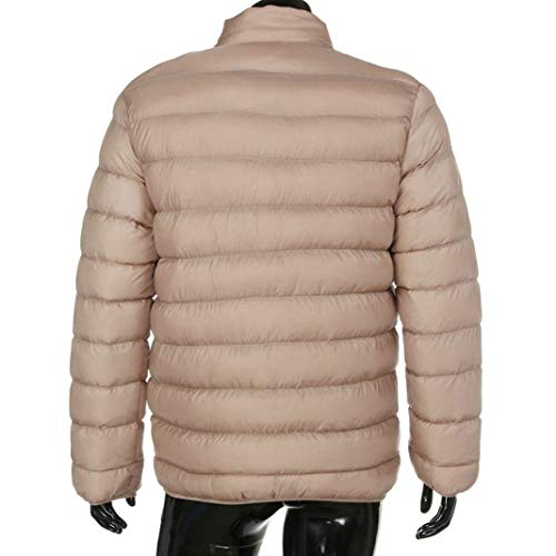 Coat with Collar Quilted Jacket Lightweight Long Down Jacket with Sports Men's Comfortable Outerwear Sleeve Jacket Beige Zipper Stand Battercake qv61wTp