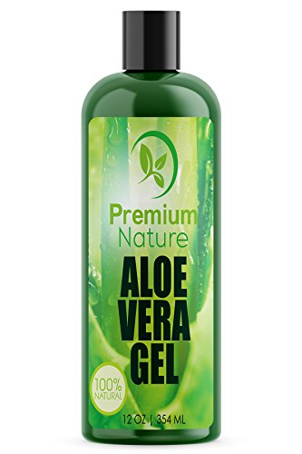 Aloe Vera Gel for Face Body & Hair - 12 oz Pure & Natural Benefits: Soothes Eczema After Sun Skin Care - Bug or Insects Bites Razor Bumps and Acne Premium Nature Gell