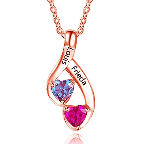 FACOCO Customized Necklace Personalized 2 Names with Heart Shaped Birthstone Necklace(Rose-Gold-Plated-Base 20) ()