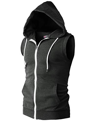 - H2H Men's Sleeveless Hoodie Zip Up Midweight Cotton Vest Charcoal US 2XL/Asia 3XL (CMOHOSL08)