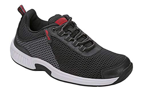 Orthofeet Proven Pain Relief Comfortable Plantar Fasciitis Orthopedic Diabetic Flat Feet Bunions Edgewater Men's Athletic Shoes Black/Grey