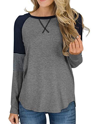 (Topstype Womens Long Sleeve Tunic Tops Crew Neck T Shirt Elegant Work Casual Striped Blouse Grey)