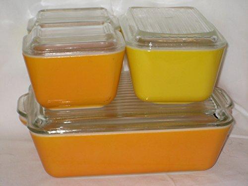 (8 Piece Set - Vintage Pyrex Yellow & Orange Refrigerator Food Storage Container USA)