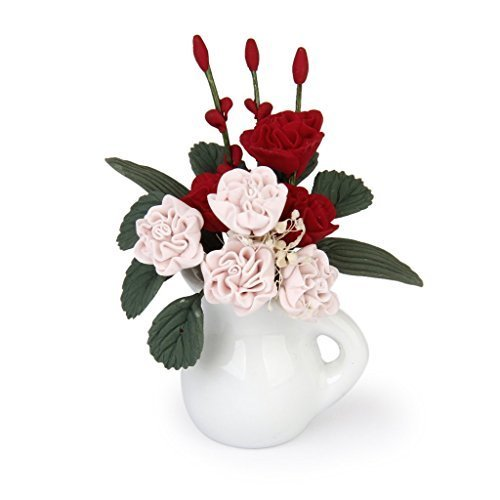 (Gold Wing 1:12 Dollhouse Miniature Clay Plant Carnation Flower In Vase Pink and Red)