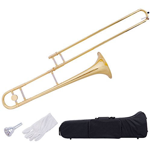 Costzon B Flat Tenor Slide Trombone, Gold Brass with Cupronickel Mouthpiece, Case, Gloves by Costzon