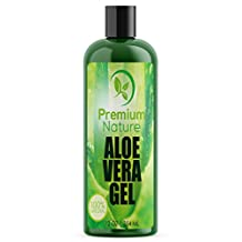 Aloe Vera Gel for Face Body & Hair - 12 oz Pure & Natural Soothes Eczema After Sun Skin Care - Bug or Insects Bites Razor Bumps and Acne Premium Nature