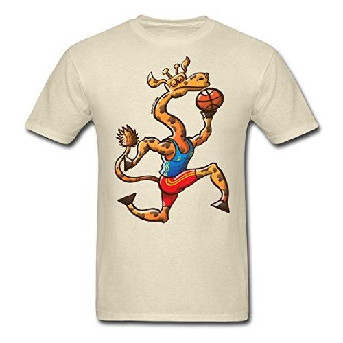 7FUMO Olympics Basketball Giraffe DIY Khaki Men's T-Shirt M