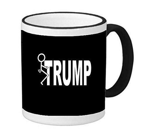 Black Humor Ringer - Trump Stick It Humor 11 ounce Black Rim/Handle Ringer Ceramic Coffee Mug Tea Cup by Debbie's Designs