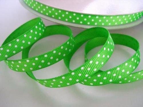 Swiss Green Dot - 50 yards Apple green/white Swiss Polka Dots Grosgrain 3/8