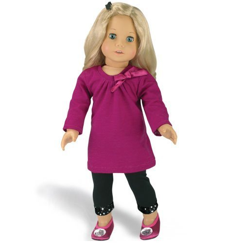 18 Inch Doll Clothing Outfit 2 Pc. Set Fits American Girl Dolls & More! (Doll Shoes sold separately) Doll Clothes Set of Berry Doll Dress & Sequin Trim Leggings