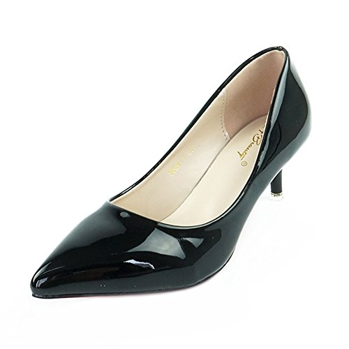 Black patent leather pumps low heel - Trenters.com