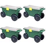 Pure Garden 75-MJ2011 20'' Plastic Garden Storage Cart & Scooter (Pack of 4)