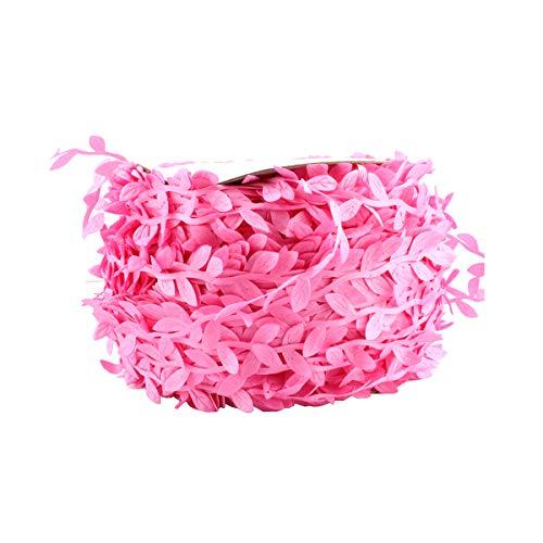 Colored Leaf Ribbon - 1.2in X 218yd - Trim Ribbon for Party Wedding Home Decoration 200m Per Roll (Pink Leaf)