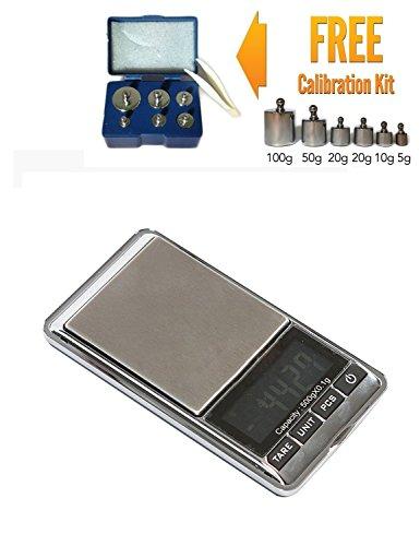 Mini Digital LCD Jewelry Pocket GRAM Scale, 0.5KG Max Capacity - 500 X 0.1 G + Calibration Weight Kit - Class M2