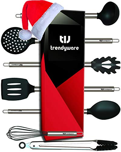 (Kitchen Utensil Set - Non-Scratch, Silicone, Stainless Steel - Safe for Non-Stick Pots, Pans, Cookwares - Non Scratch)