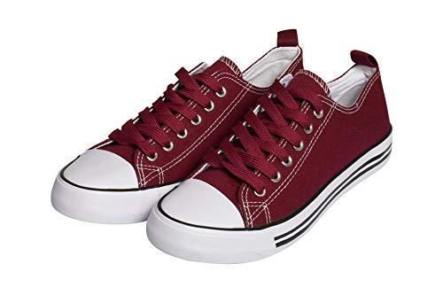Womens Sneakers Tennis Canvas Shoes Casual Shoes for Women Low Top Cap Toe Flats Burgundy/Burgundy