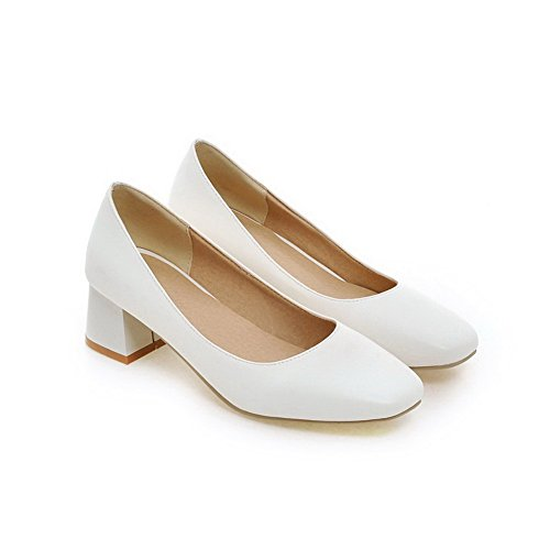 Balamasa Dames Chunky Talons Carrés-orteils En Imitation Cuir Pompes-chaussures Blanches
