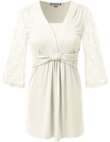 VIVALACE Womens Shortsleeve U Neck Stretchy Fabric Comfy Flared Tunic White, Small