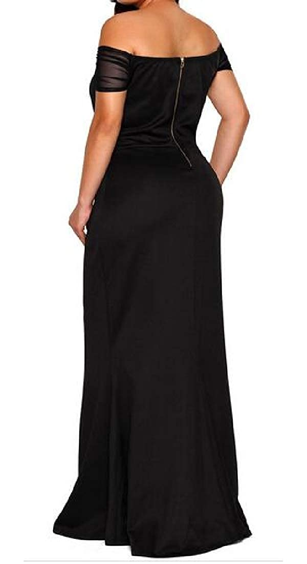 Fubotevic Womens Off Shoulder Tunic Swing Plus Size Evening Party Maxi Dress