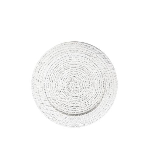 ChargeIt by Jay Round Rattan Charger Plate, White (Wicker Chargers Square)