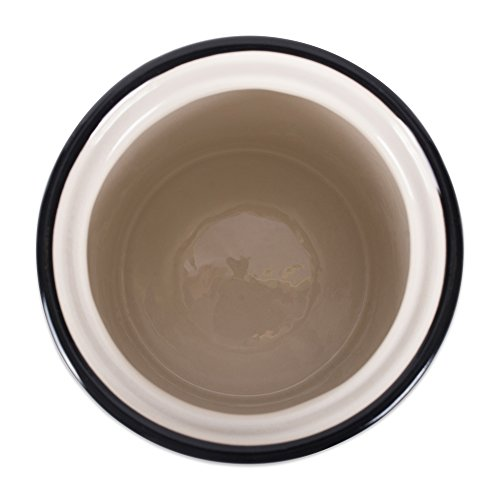 Bone Dry DII Medium Ceramic Pet Treat Storage Canister with Lid 5.5 (Dia) x8.25 (H), Perfect Food and Treat Jar for Dogs and Cats - Black Dog Text