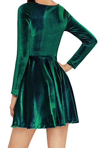 Annigo Velvet Dress for Women Long Sleeve Pleated New Years Eve Dress,Dark Green,Small by Annigo (Image #2)