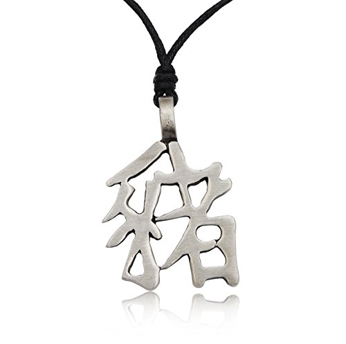 Chinese Kanji Letter Charm Pewter Necklace Pendant Jewelry