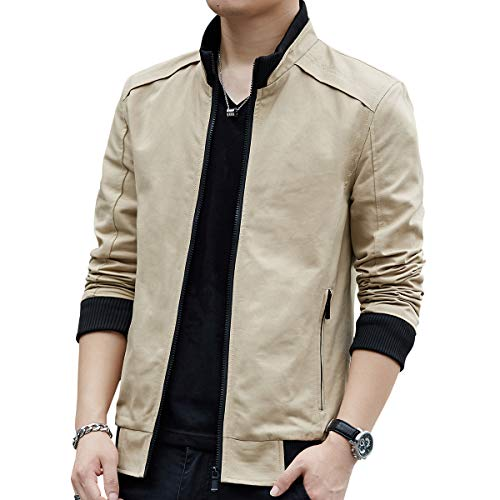 Womleys Mens Casual Windbreaker Outerwear Slim Fit Cotton Lightweight Jackets (Large, Khaki) - Khaki Cotton Jacket