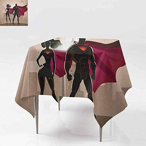 AndyTours Spill-Proof Table Cover,Superhero,Super Woman and Man Heroes in City Solving Crime Hot Couple in Costume,Party Decorations Table Cover Cloth,36x36 Inch Beige Brown Magenta]()