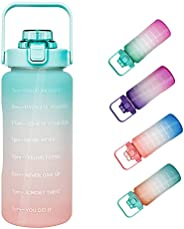 Half Gallon /64OZ Motivational Time Marker Plastic Water Bottle with Straw Leakproof Frosted Large BPA Free Po