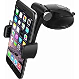Moonxiao Concept Universal Car Dash Mount Phone Holder Dashboard & Windshield Suction Cup Phone Mount 360° Rotation Easy One Touch Lock Cell Phone for Compatible Any Smartphone and GPS Device,D8 Black