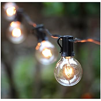 50Ft G40 Globe String Lights with Clear Bulbs for Indoor/Outdoor Commercial Decor, Outdoor String Lights for Patio Backyard Pergola Market Cafe Bistro Garden Porch Pool Umbrella Tents Decks