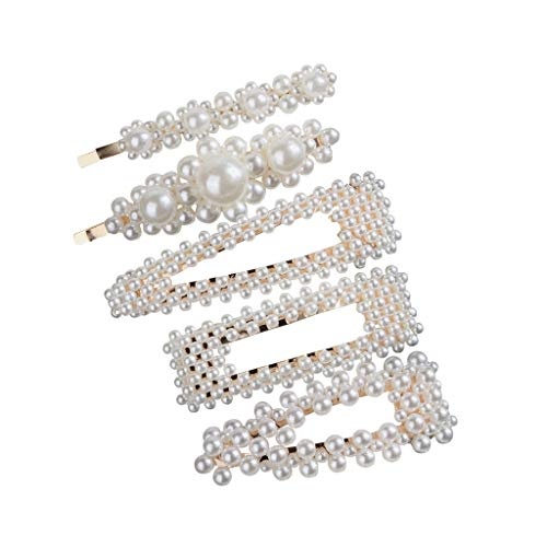 Toponly Hair Barrettes Hair Clips Women -Hair Accessories Hair Pins for Girls Thick Hair Styling Fashion Jewelry Alloy Diamond-Studded Moon Star Pendant (Mix Colour Pearl Necklace)