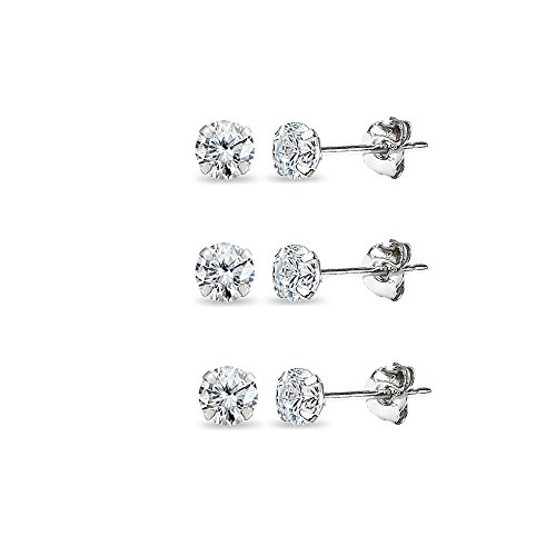 3 Pair Set 14K Gold Cubic Zirconia Tiny 3mm Round Unisex Stud Earrings for Men, Women, Boys Girls