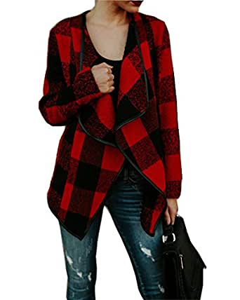 Womens Plaid Drape Long Sleeve Open Front Cardigan Coat Jacket S Red