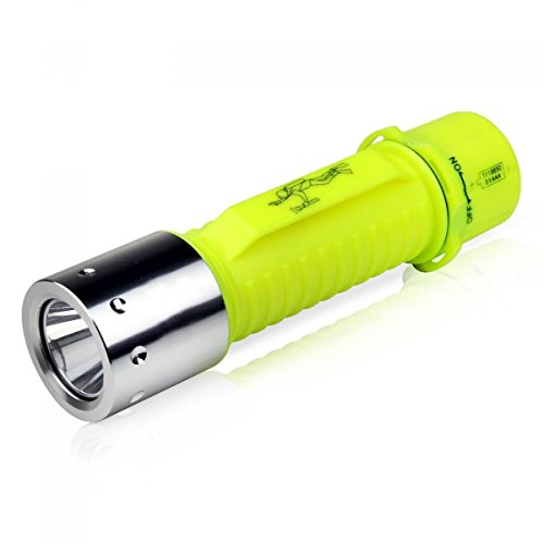 ELECLOVER 600lumen CREE LED Diving Safety Flashlight with 18650 Rechargeable Battery, Yellow