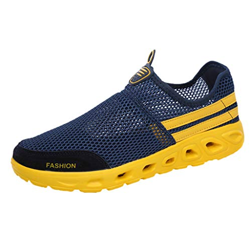 Yucode Mens Mesh Sneakers Slip-on Lightweight Athletic Running Walking Gym Shoes Slip-On Running Sports Shoes Blue